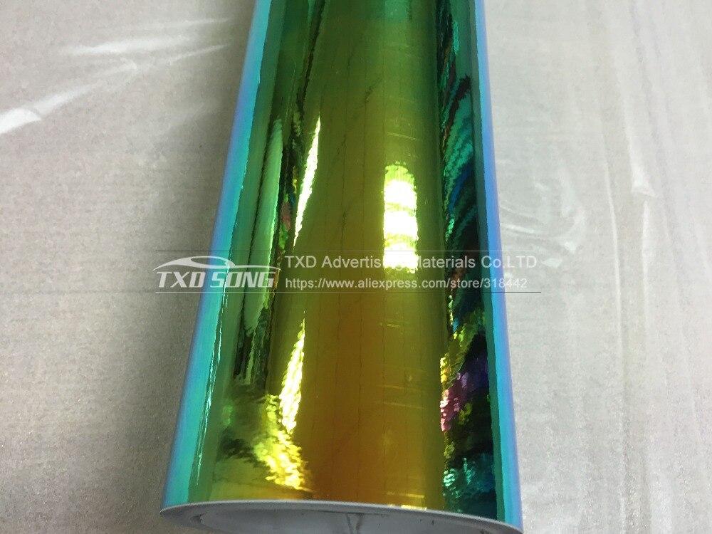 Премиум Глянцевая зеркало Радуга голографической фольги Film Rainbow хромированная Виниловая пленка для оклеивания автомобилей Упаковка 10/20 Вт, 30 Вт/40/50/60 см X 135 см/лот