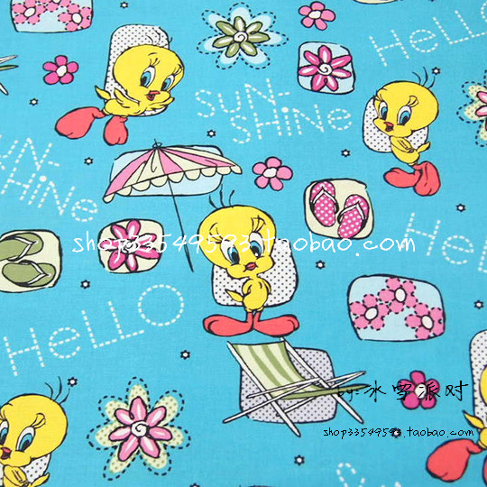 140X100cm Blue Tweety Bird Hello Sunshine Cotton Fabric for Baby Boy Clothes Sewing Patchwork DIY-AFCK100