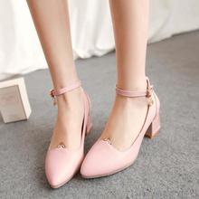 ปั๊มPUส้นสูง6เซนติเมตรใหม่33 40 41 42ผู้หญิงรองเท้าขนาดใหญ่หลาขนาดเล็กสีชมพูส้นหนาEURขนาด32-43
