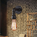 Loft Vintage rustic wall lamps Classic Black lamparas de pared sconce wall Light For Aisle Bar Bedroom Iron Industrial Pipe lamp