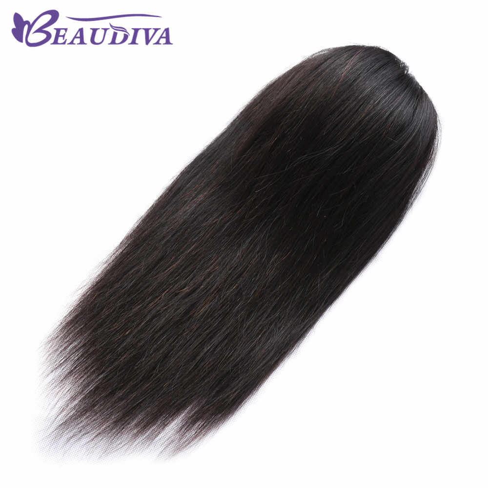 BEAUDIVA Brazilian Straight Hair Ponytail For Women Brazilian 3B 3C Natural Black Color Clip In Ponytails Human Hair Extensions