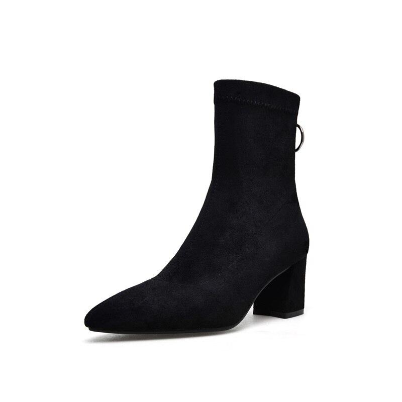 Egonnerie mi mollet bottes populaire nouvelle offre spéciale troupeau zipper haut sabot talons bout pointu hiver chaud trois couleurs femmes chaussures-in Bottines from Chaussures    2