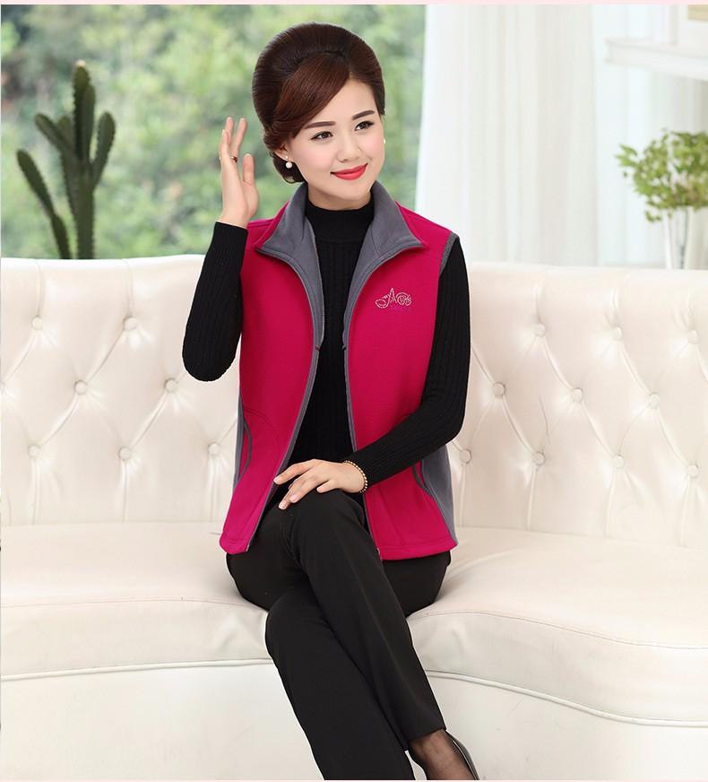 Woman Basic Fleece Vest Purple Red Color Blocking Sleeveless Jackets Middel Aged Women Warm Soft Fleeve Waistvest Zipper Herringbone Gilet (16)