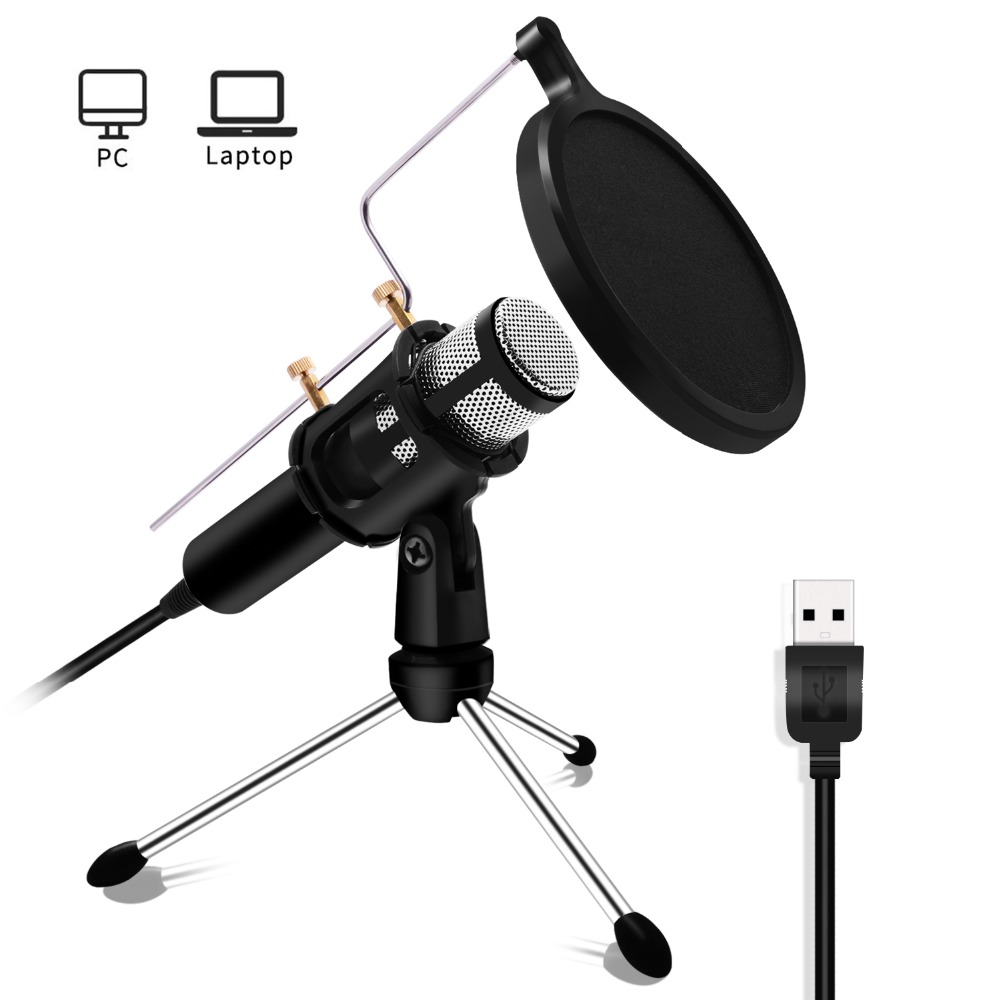 Lefon Professional PC Microphone Condenser for Computer Mic USB Plug Stand YouTube Live Stream Broadcasting Recording