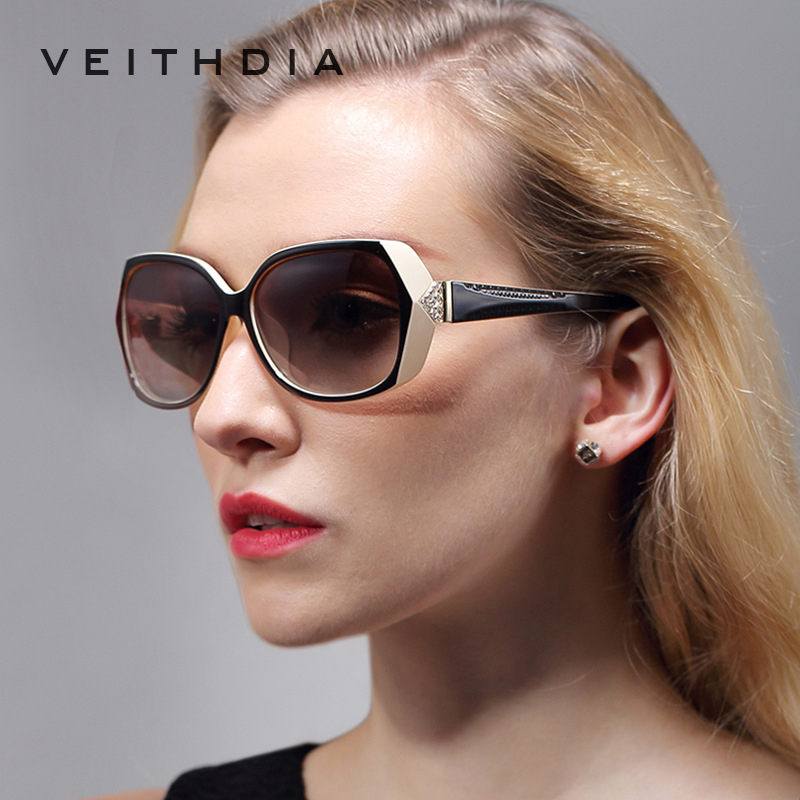 VEITHDIA Retro TR90 Vintage Large Sun glasses Polarized Carved Diamond Ladies Women Designer Sunglasses Eyewear Accessories 7011