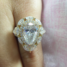Pear Cut 4ct 12x8mm Moissanite Ring 14k White Gold For Women DEF Color Excellent Cut Solarite With Pear&Round&Marquise Cut