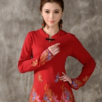 Middle Aged Women Autumn Winter Ethnic Vintage Long Sleeve Mandarin Collar Embroidery Frogs Shirt M L