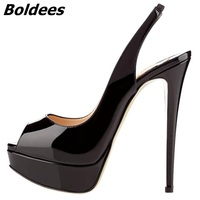 Boldees 2018 Women's Fashion Slingback Thin High Heels Platform Pumps For Women Patent Leather Super High Heel Shoes Big Size
