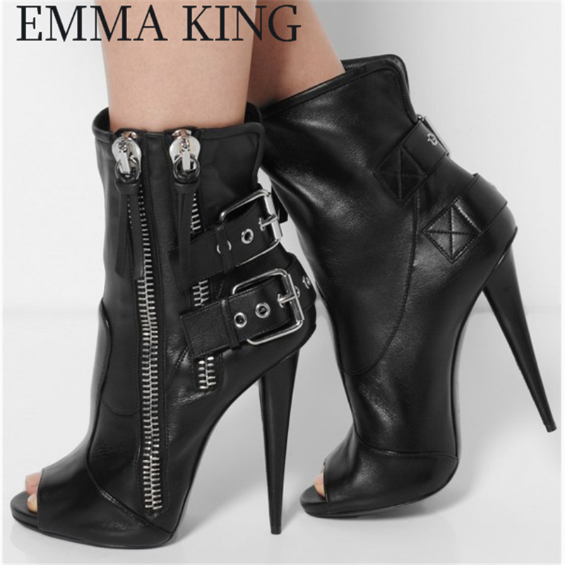Spring Women Boots Solid Double Buckle With Double Zipper Shoes Spike Heel Stiletto Fish Mouth Ankle Boots Banquet Short BootiesSpring Women Boots Solid Double Buckle With Double Zipper Shoes Spike Heel Stiletto Fish Mouth Ankle Boots Banquet Short Booties
