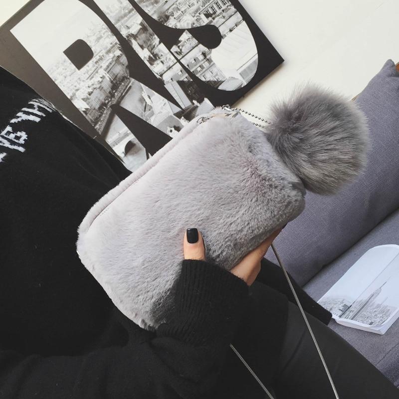 2017 Herfst Mode Nieuwe Womne Handtassen Hoge Kwaliteit Konijnenbont Zachte Pluche Vrouwelijke Schoudertas Zoete Dame Haar Bal Messenger Tas