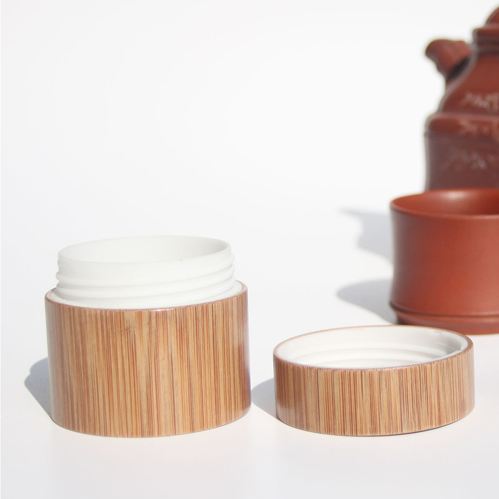 Wear Resistant Refillable Bottle Round Natural Bamboo Container Travel Empty Eco-friendly Pot Facial Cream Jar Box Cosmetic Mask