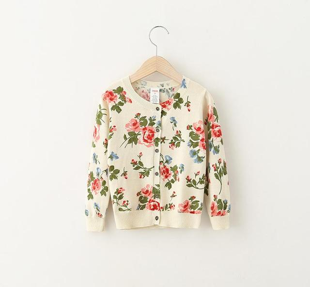 Princess Babies Girls Floral Print Knitting Sweaters Cardigans Beige Color Western Cute Babies Casual Clothing Fall Jackets