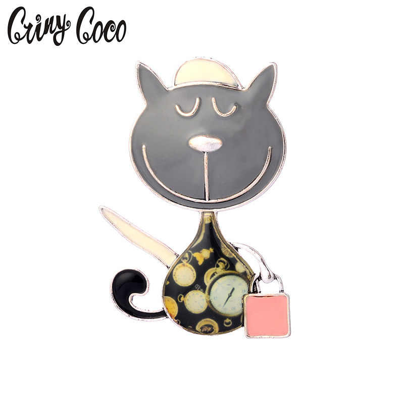 Zinc Alloy Cat and Handbag Brooches New Arrival Fashion Jewelry Cute Enamel Brooch Pins Dress Accessories For Women Pins