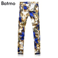 Batmo 2019 new Men casual Jeans,Famous Brand Fashion Designer Denim Jeans Men,plus size 28 38,Hot Sale jeans,print pencil pant
