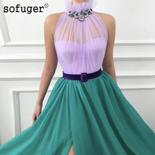 Lilac Green Halter Neck A Line Evening Dress Robe De Soiree Plus Size High Slit Vestidos Fiesta Noche Formal Party