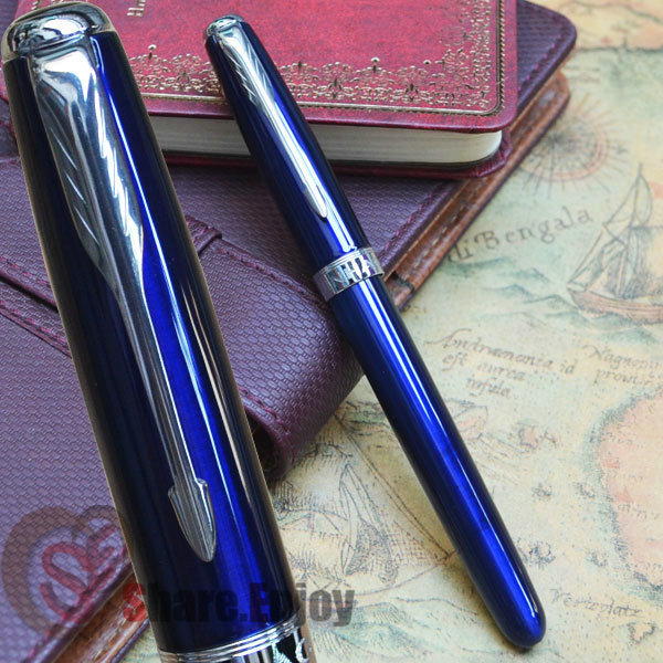 FOUNTAIN PEN 18KGP MEDIUM NIB JINHAO 601 GLOSS BLUE AND SILVER ARROW CLIP