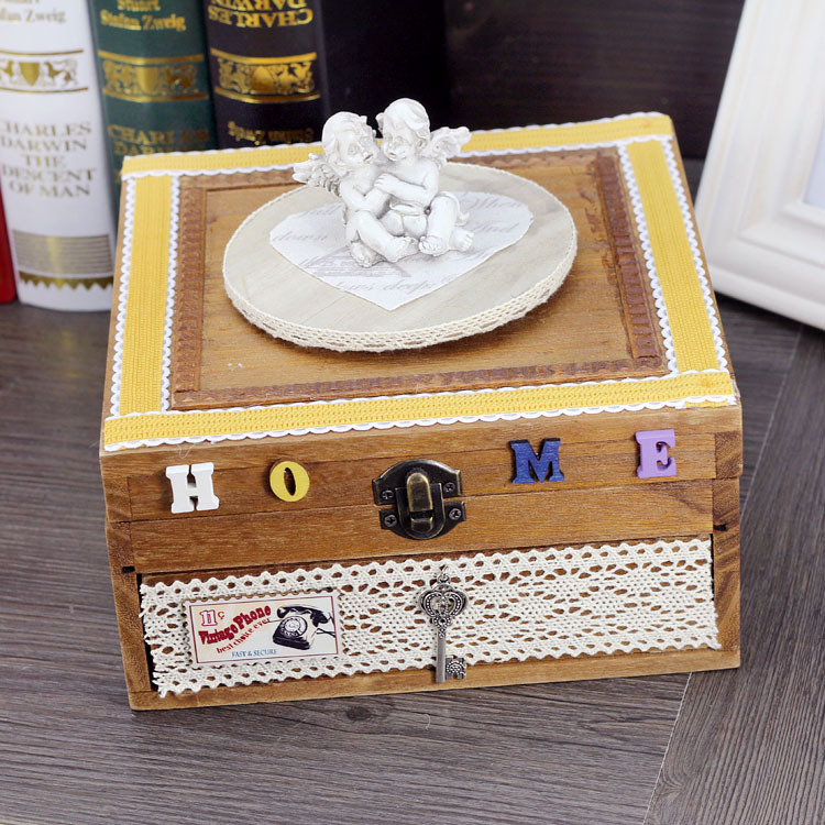 Antique Wooden Music Box Clockwork DIY Double -Layer Jewelry Box Musical Box Women Girl Cosmetic Case Gift lover Musical Box