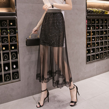 Plus Size Sexy Sequin Black Mesh Pleated Tulle Lace long Skirt Korean Style Women Clothing High Waisted Elastic Waist Skirt lace up high waisted high low skirt