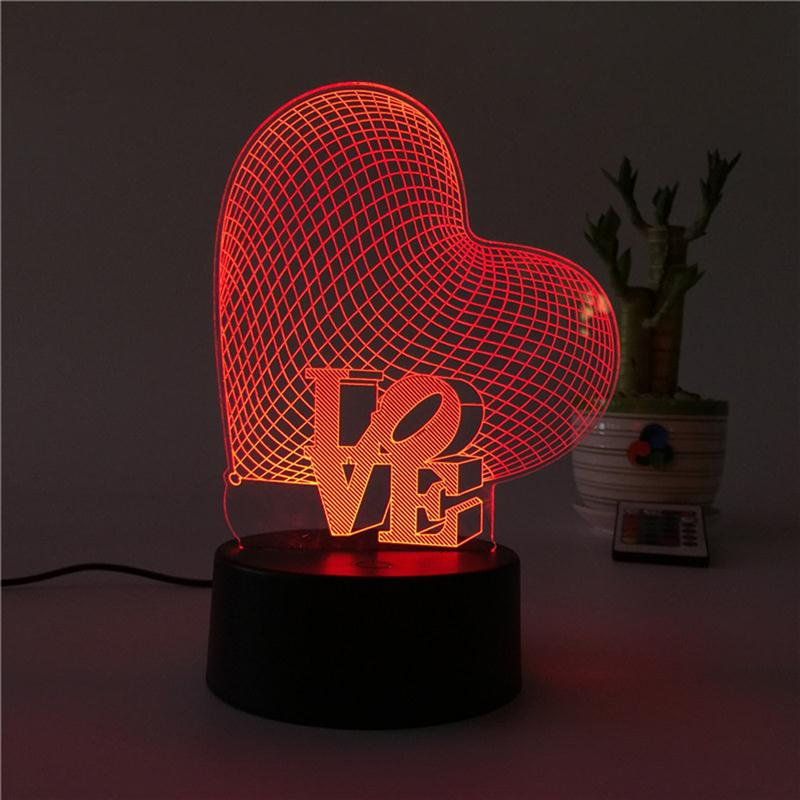 1 * 3D Heart Shape Lamp Multicolor LED Lights Touch USB Remote Control  Night Light Table Lamp For Couple Romantic Night Valentineu0027s Day Motheru0027s  Day Gift