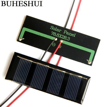BUHESHUI 2V 0.2W Mini Solar Cell+Cable /Wire Polycrystalline Solar Panel/Module DIY Solar Charger For 1.2V Battery 78.8*28.3MM image