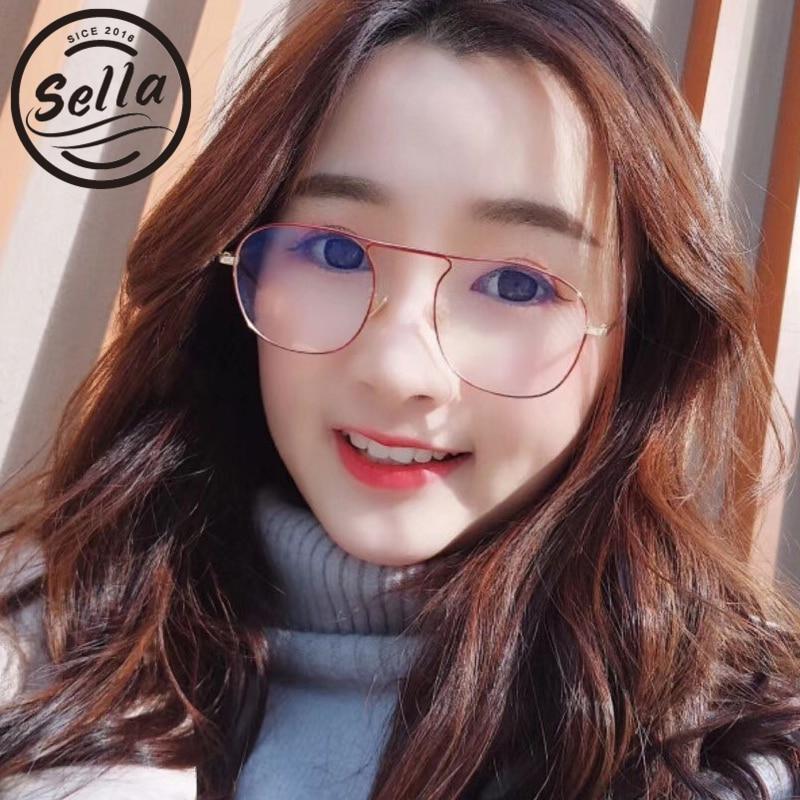 Sella 2018 New Retro Fashion Women Men Small Frame Round Glasses Wear Trending Slim Alloy Glasses Frame Anti-UV