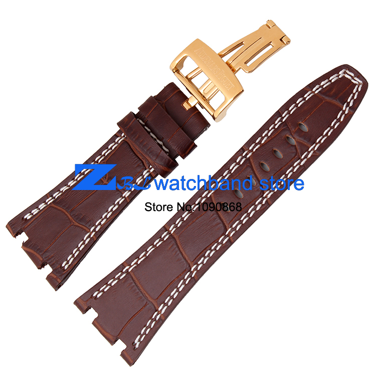genuine leather Watchband Sports watch strap wristwatches band Brown with white stitched  28mm Men Watch  accessories high quality genuine leather watchband 22mm brown black wrist watch band strap wristwatches stitched belt folding clasp men