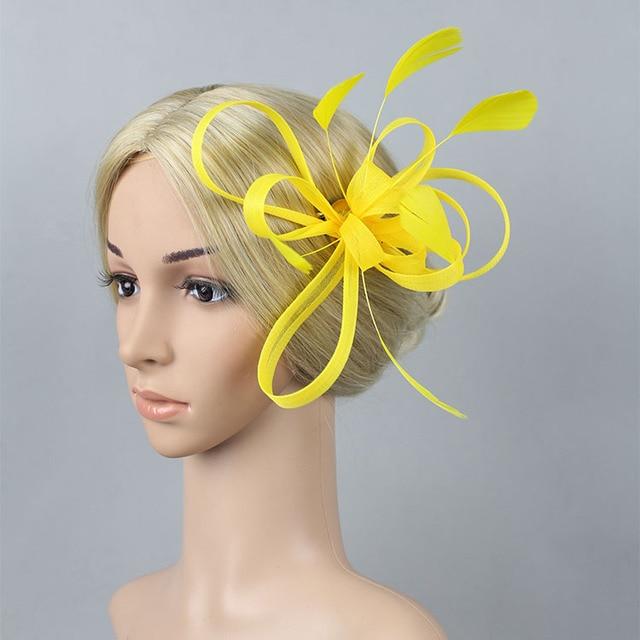 2016 New Yellow Fascinator Hat Feather Headpieces For Wedding Fascinators