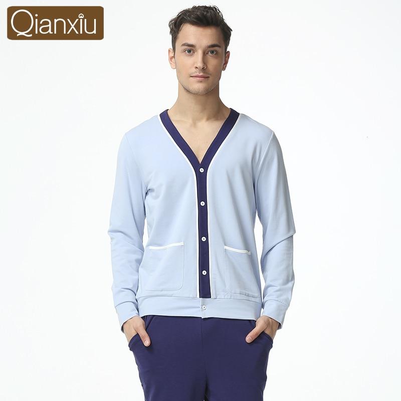 Suit Pants Pajama-Sets Sleepwear Male Cotton Men's Casual V-Neck Autumn Collar Patchwork