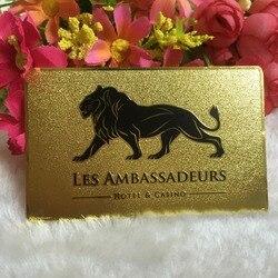 Изготовленная на заказ металлическая визитная карточка, золотистая Роскошная металлическая визитная карточка, двухсторонняя металлическ...
