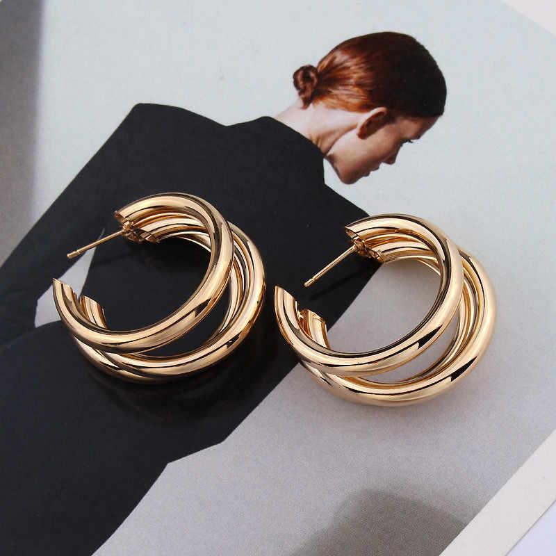 LUSION ยี่ห้อโลหะ Elegant Hoop ต่างหูผู้หญิง 2019 ใหม่ Vintage Gold สีราคาถูกเกาหลีต่างหูอุปกรณ์เสริม brincos