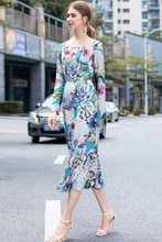 Europe and America flroal print long sleeves dress 2019 summer elegant slim fit pencil A426