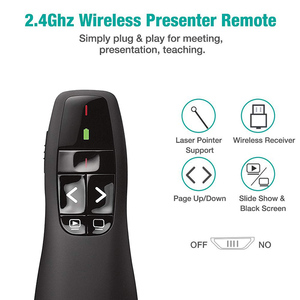 Image 3 - Rovtop 2.4GHz USB R400 Wireless PPT Remote Control Portable Handheld Presenter Remote Control Red Laser Pen For Powerpoint Z2