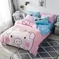 Brief Style Pure Cotton Duvet Cover Bed Set Bed Sheet Pillowcases Cartoon Baby Pig Panda Rainbow Bear Jurassic Cat Full Queen