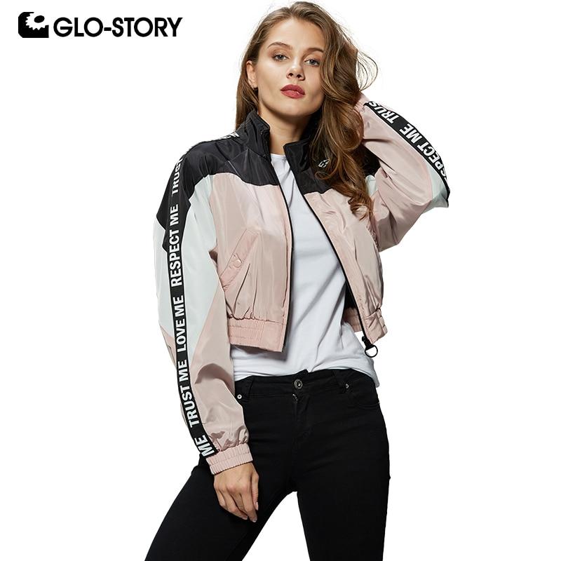 GLO-STORY 2019 New Ladies Patchwork Letter Tape Batwing Sleeve Bomber Jackets Crop Tops Women Streetwear Short Coats  WFY-7837