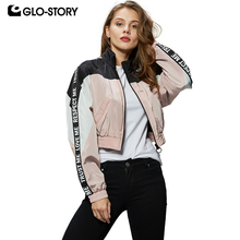 GLO-STORY 2019 New Ladies Patchwork Letter Tape Batwing Sleeve Bomber Jackets Cr