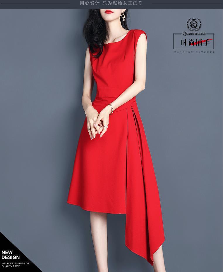 Printemps 2019 femme style robe sans manches déesse fan rouge jupe irrégulière