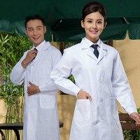 Uomo bianco/signora a maniche lunghe giacca medico infermiere uniformi di servizio lavanderia bianco medico camice da laboratorio medico ospedaliero vestiti