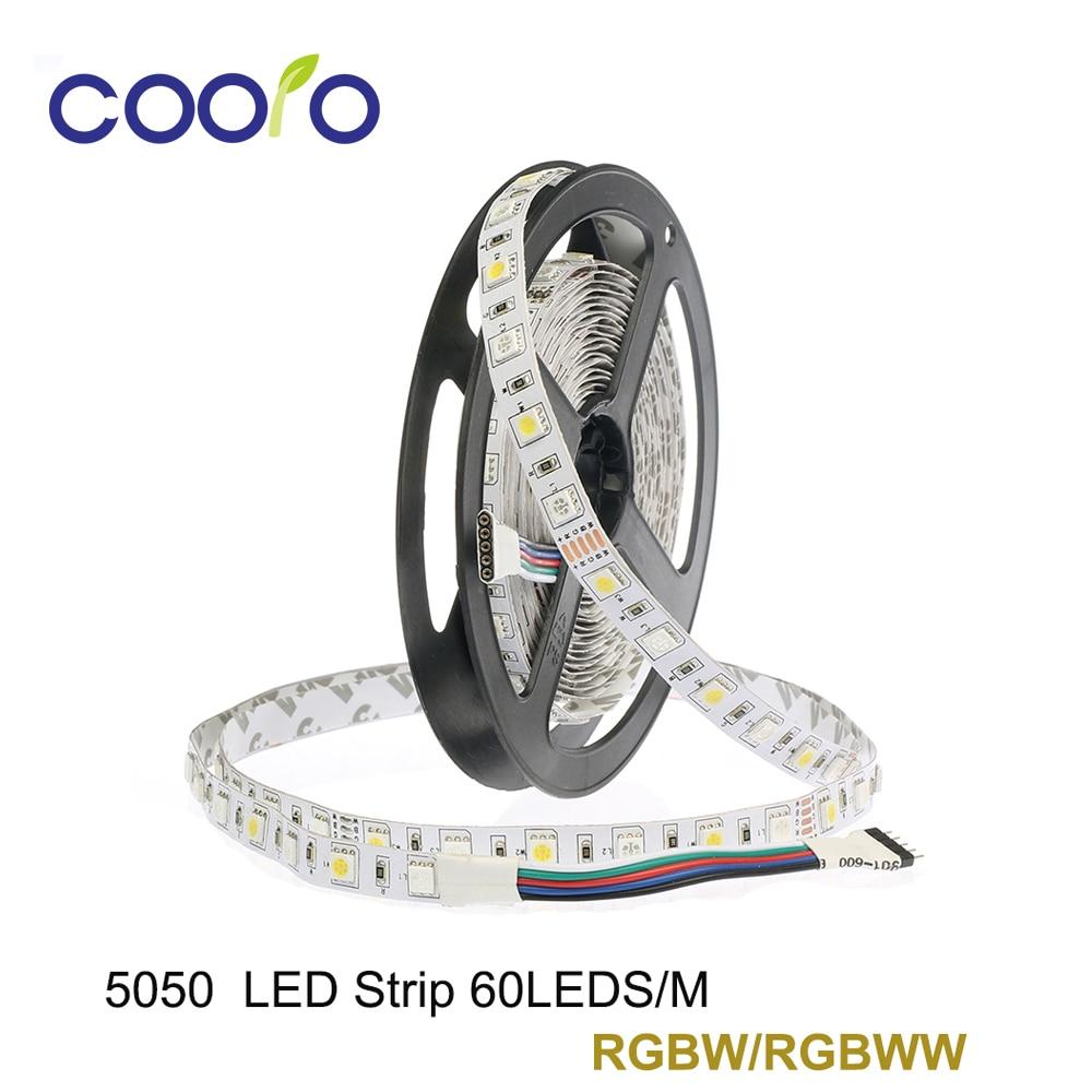 LED Strip SMD 5050 RGBW 12V flexible light RGB+White/Warm White colorful strip lights,5m 300LEDs 60Leds/m,5m/lot Non waterproof