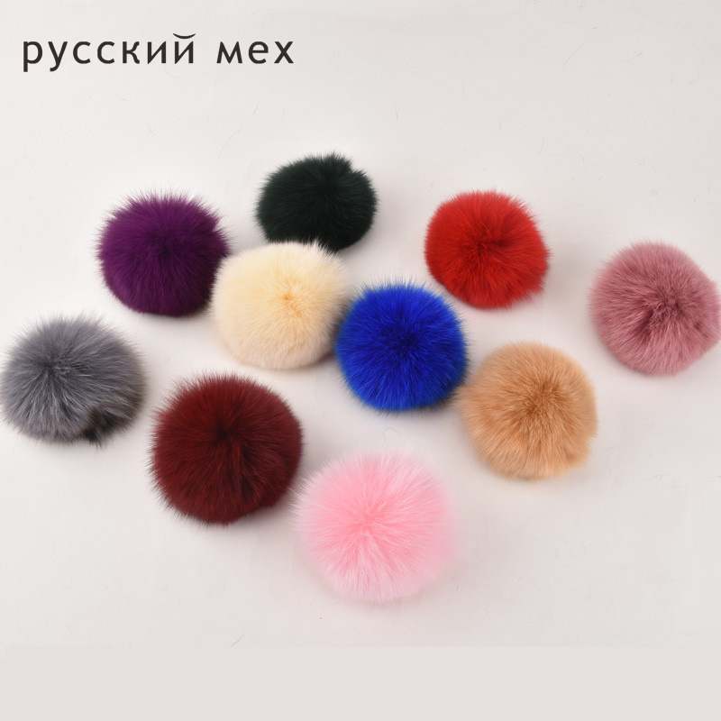 5pcs/lot 10cm Nature Real Fox Fur Big Ball Pom Pom Fluffy Genuine Fur Pompom DIY Winter Hat Skullies Beanies Knitted Cap Pompoms 10cm real fox fur ball keychain on the keys fluffy real fur pompom car for couples fur ball key chains fur cap beanie