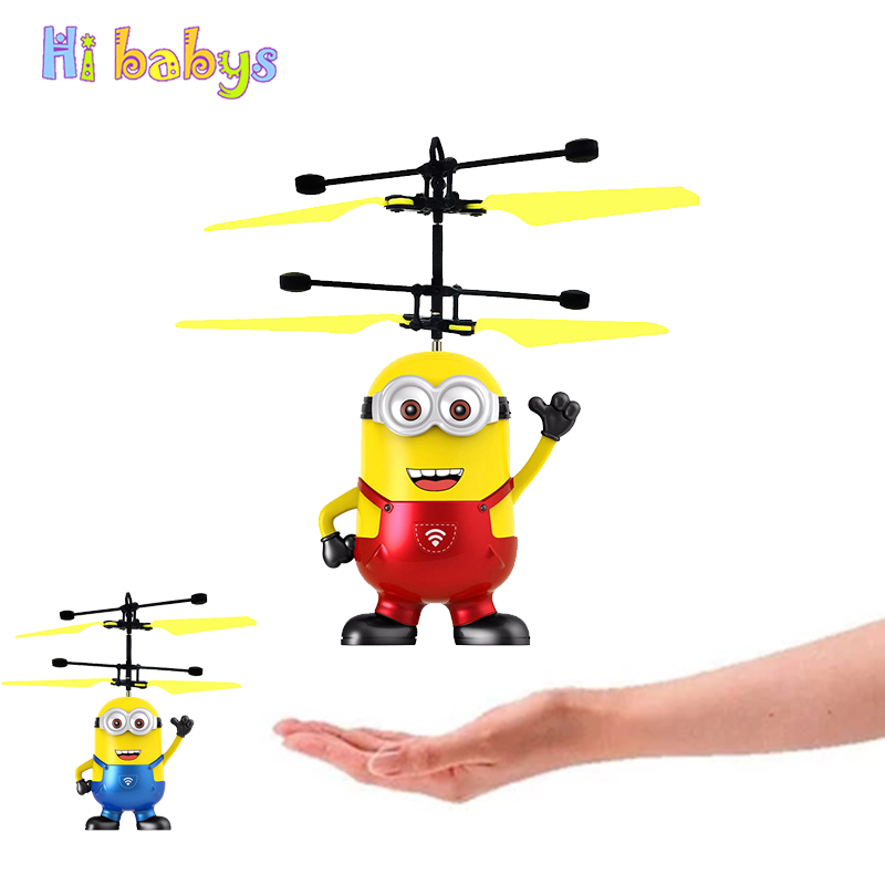 Minion RC Helicopter Hand Control RC Drone Fly Flashing Helicopter Toys For Children Minion Helicopter Quadcopter Drone With LED