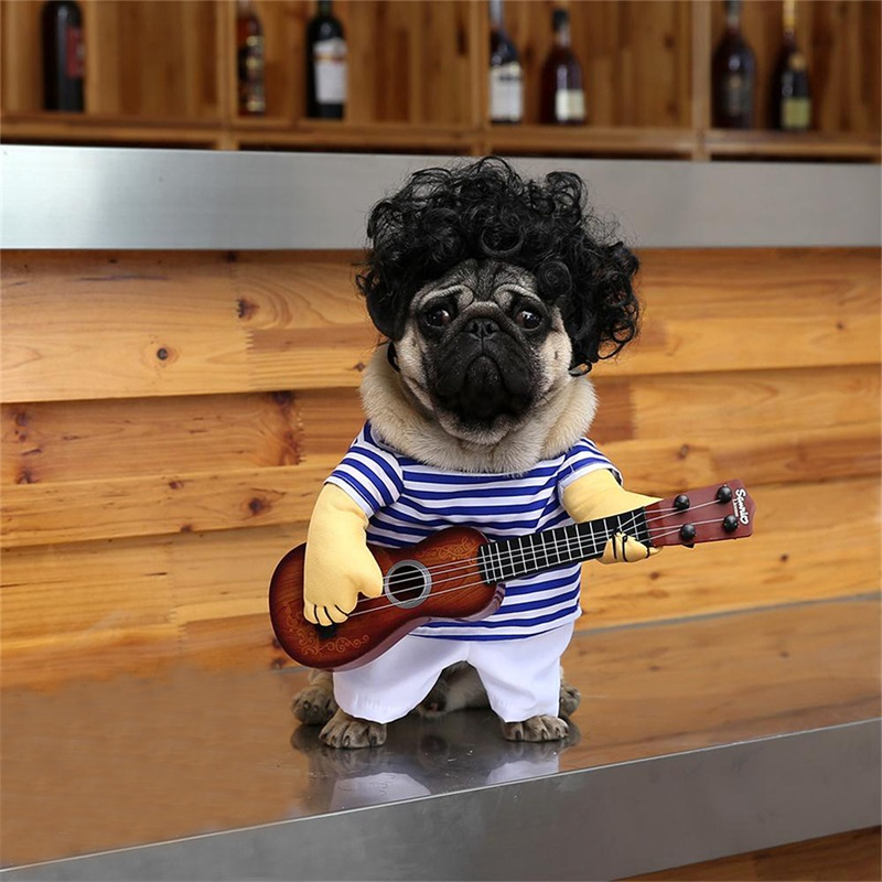 Pet Cosplay T Shirt Funny Guitar Player Dog Costume for Small Dog Large Dog Retriever Halloween Party Supplies in Cat Clothing from Home Garden