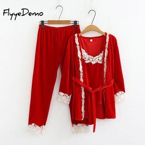 Image 5 - 5XL Marka Sonbahar Kadın Üç Adet Pijama Setleri Kadife Dantel Patchwork Çiçek Kadife Yüksek Kaliteli Gecelikler Bornoz Artı Boyutu