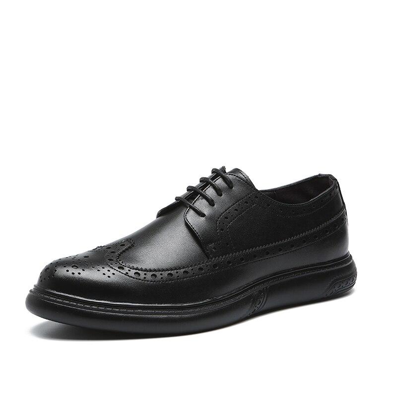 Genuine Leather Dress Men Shoes Lace Up Men Oxfords Business Wedding Formal Flats Shoes For Men