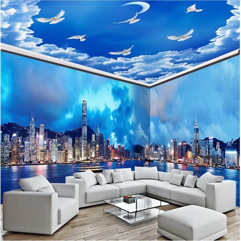 Beibehang Customized Room Wallpaper Hong Kong City Night