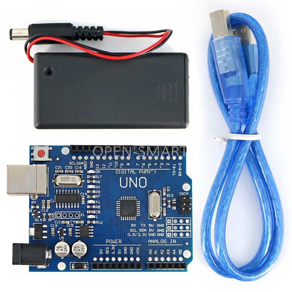 Портативная макетная плата UNO R3 SMD ATmega328P с USB-кабелем, чехол для батареи 9 В для Arduino UNO DIY