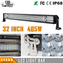 CO LIGHT 405W 32″ CREE Chips Straight LED Light Bar 3-row Combo Beam Led Work Light Offroad for UAZ SUV Lada Niva Pickup 12V