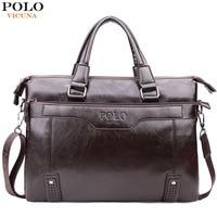 VICUNA POLO Fashion Vintage Bottom Hollow Mens Handbag Sacoche Homme Large Capacity PU Leather Man Shoulder