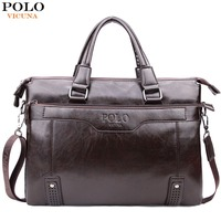 VICUNA POLO Fashion Vintage Bottom Hollow Mens Handbag Sacoche Homme Large Capacity PU Leather Man Shoulder