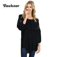 Yizekoar 2018 Fashion Plus Size Women Clothing Long Sleeve Lace Tops Casual Chiffon Blouse Autumn Winter