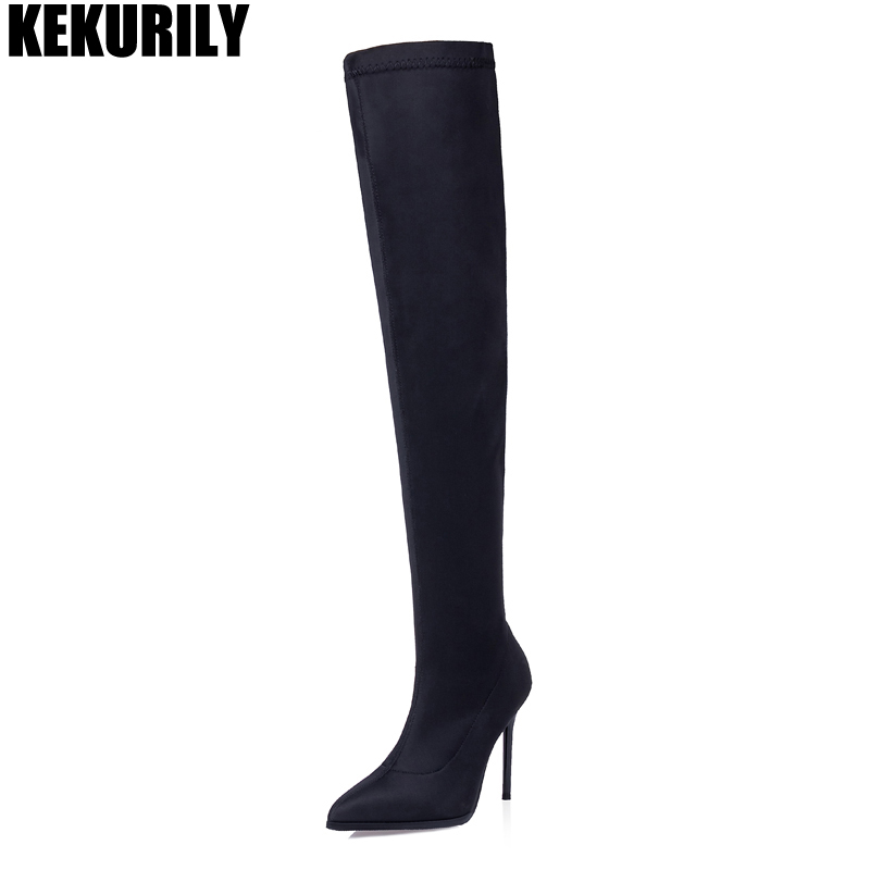 Women Shoes Fashion Over the Knee Boots Pointed toe Socks Boots Elasticity Slip on High Heels Knight boot Black zapatos de mujer цена